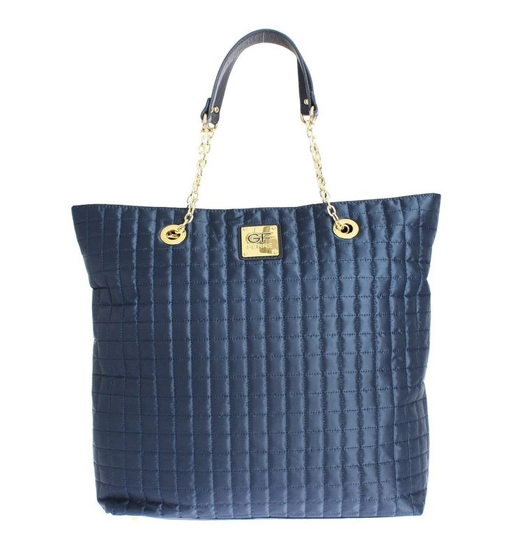 GF FERRE Blue Shopper Shoulder Bag Tote #cf-color-blue #cf-size-large