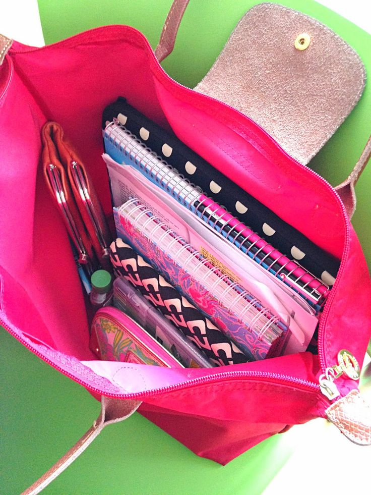 Organize your school bag with notebooks, folders, and pencil cases to make life easier!