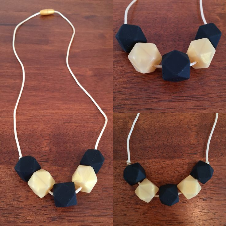 Fussy Little Fox Hexagon Teething Necklace in honeycomb and black on vanilla nylon cord with gold safety catch. $13 + Free Shipping within Australia. Visit Fussy Little Fox on Facebook to see more or email fussylittlefox@gmail.com to purchase.