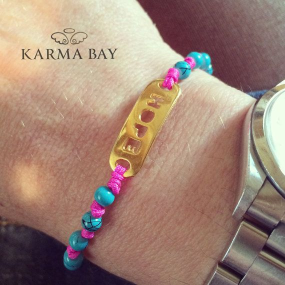 Fuchsia and Turquoise Beaded Hope #Bracelet by #KarmaBay on #Etsy #Beads #Crafts #gifts