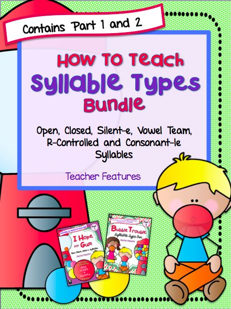 "Without a strategy for chunking longer words into manageable parts, students may look at a longer word and simply resort to guessing what it — or altogether skipping it.  This Bundle contains 2 Syllable packs-  ""I Hope For Gum"" and Bubble Trouble""     You will find Activities, Anchor Charts and     Games for the following Syllable Types inside: - Closed - Silent-e - Open - Vowel Team - R-Controlled - Consonant-le"