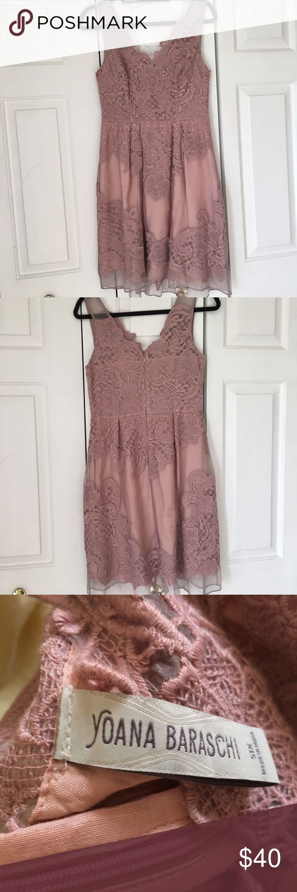 NWOT pink baraschi lace tuelle dress Bought for a party and never wore. Super beautiful pale pink color and lace with sheer fabric. V neck. Retails $160 Anthropologie Dresses Midi