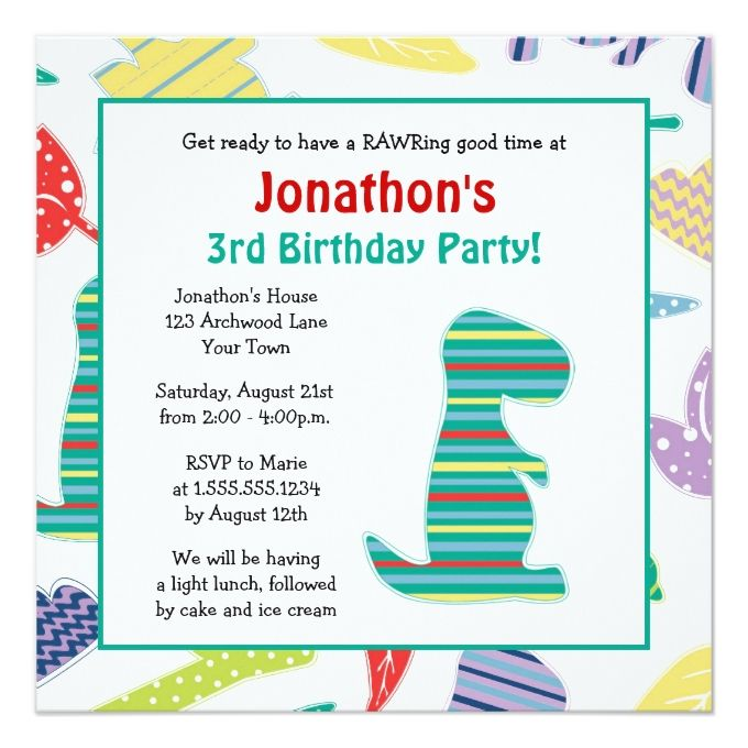 1253 best boy birthday invitations images on pinterest boy cute dinosaur theme kids birthday party invitation stopboris Gallery