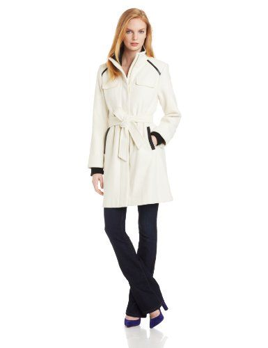 Vince Camuto Women's Funnel Neck Wool Coat, Cream, Large -- Check out the image by visiting the link.