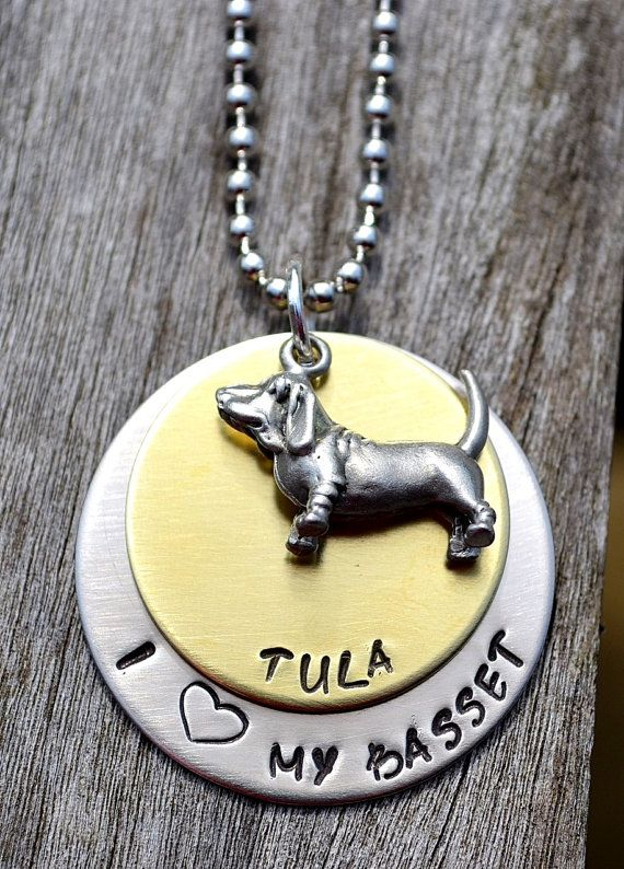 I Love My Basset Handstamped Necklace by Pawsitively Purrfect, $30.00