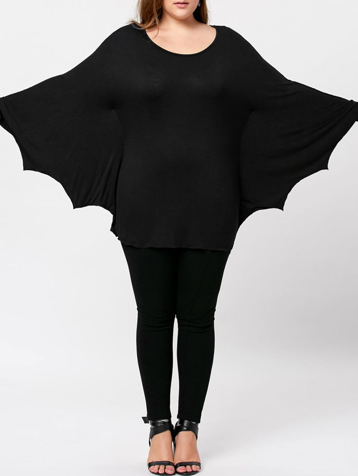Plus Size Halloween Batwing T-shirt - Black 3xl