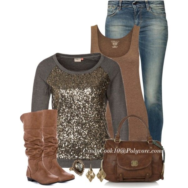 Casual OutfitWoman Fashion, Fashion Ideas, Clothing, Fall Fashion, Fall Outfit, Work Outfit, Casual Outfits, Brown Boots, Sequins Tops