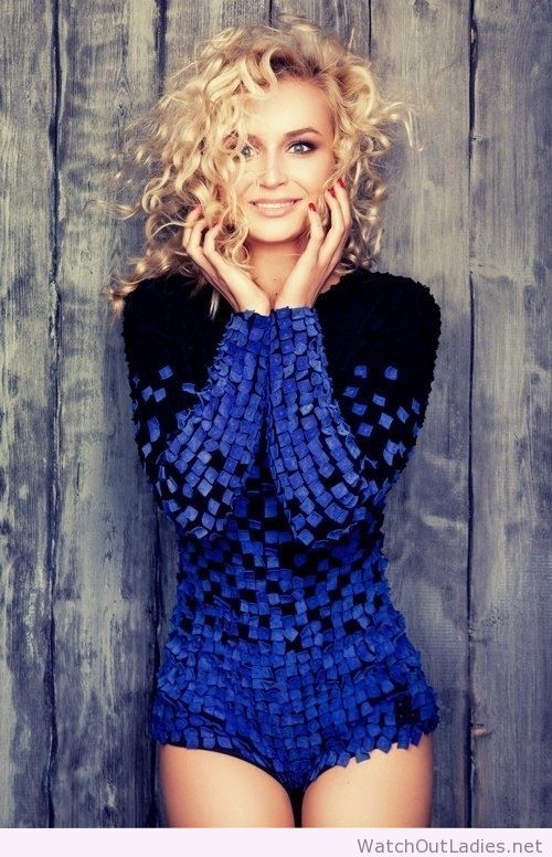 Polina Gagarina awesome suit and blonde curls