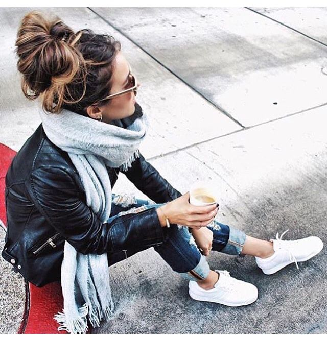 Jeans, leather jacket, white sneaks, gray scarf http://fancytemplestore.com http://fancytemplestore.com