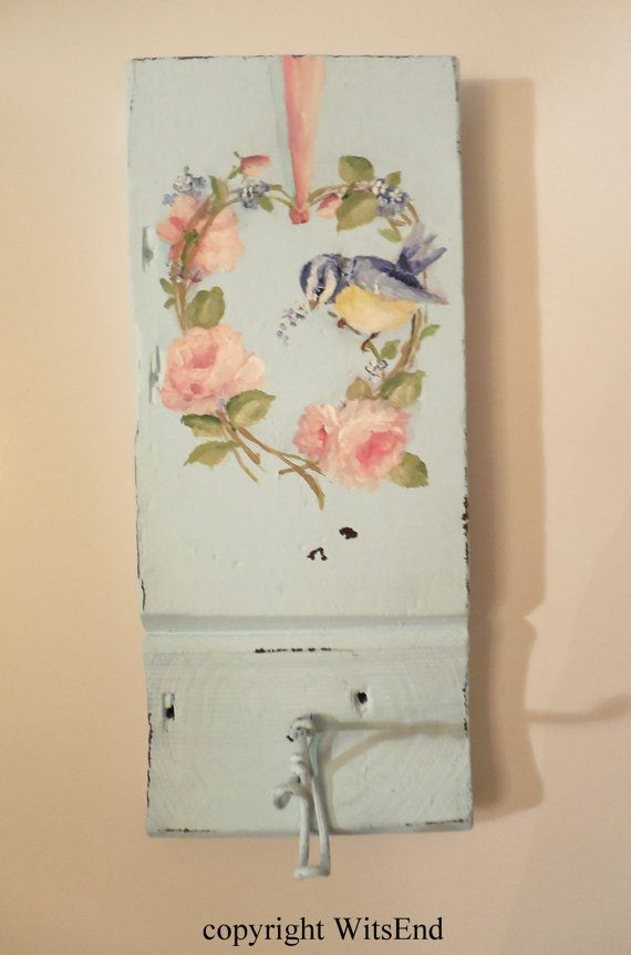 Rose Wreath painting Blue Bird original ooak antique plinth with vintage wire hook. Key rack, robe hook, etc.  by 4WitsEnd via Etsy.  SOLD