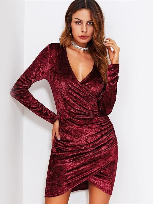 5f60315366bf Crushed Velvet Ruched Dress