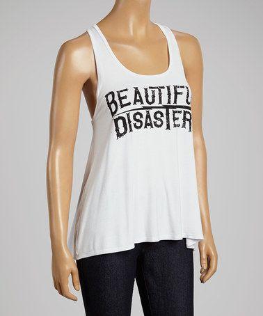 Look at this #zulilyfind! White 'Beautiful Disaster' Tank - Women #zulilyfinds