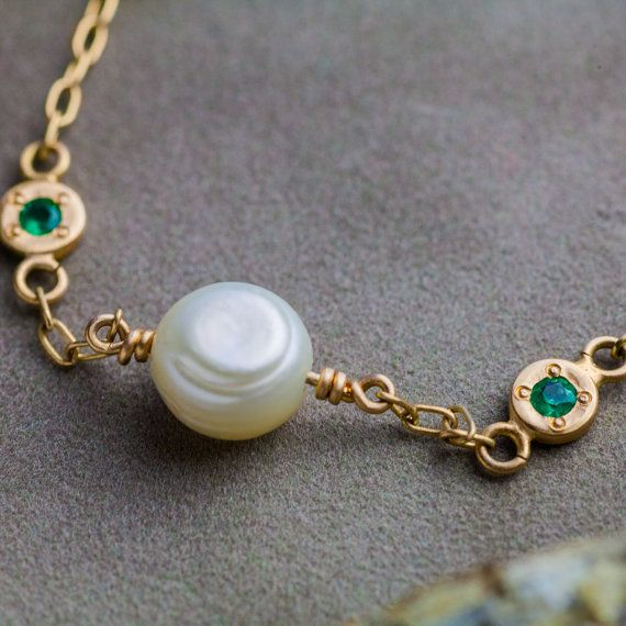 Natural Pearl And Emerald Bracelet in 14K Yellow by ZEHAVAJEWELRY