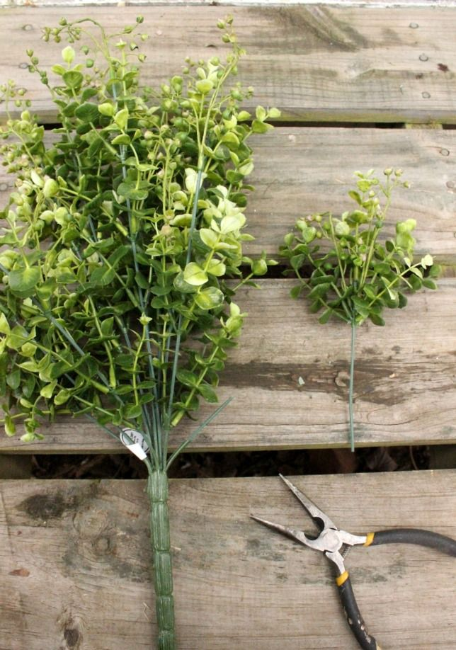 Make your own faux boxwood wreath or buy one from her Etsy store