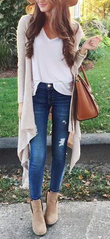 #fall #fashion / oversized beige cardigan