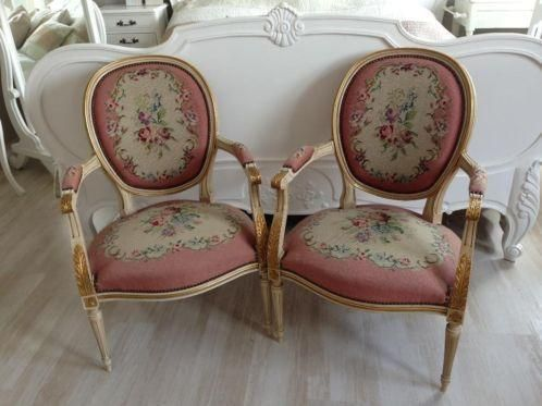 antiek franse brocante louis xv fauteuils, niet meer in onze winkel