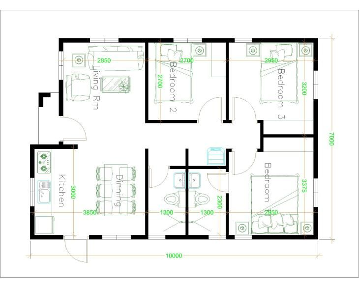 House Plans 7x10 With 3 Bedrooms House Plans S Denah Lantai Rumah Denah Rumah Denah Lantai