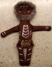 Handmade Aboriginal Doll Aboriginal Elder Man  handmade in Australia designed by Nola Turner-Jensen (Wiradjuri)  comes with unique Wiradjuri name size:  38cm  Price:  $60.00 each