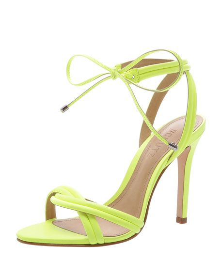 b747378fe36 Get free shipping on Schutz Yvi Twisted Leather Ankle-Tie Sandals at Neiman  Marcus.