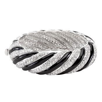 Simple Silvertone Finish Crystal Bangle