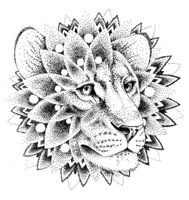 Dotwork lion mandala tattoo design