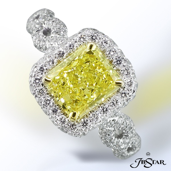JB Star Fancy Yellow Radiant engagement ring.