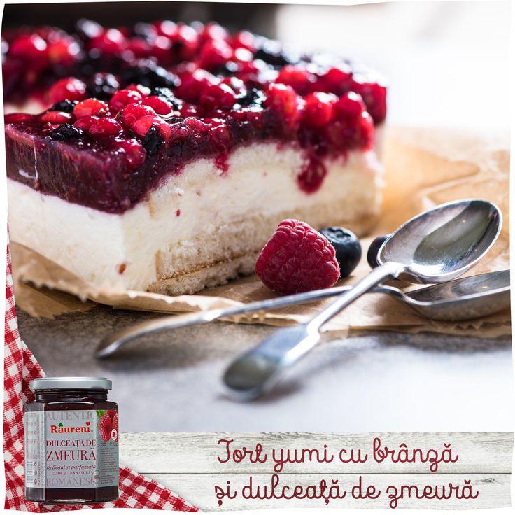 Tort cu branza si dulceata de zmeura de la Raureni