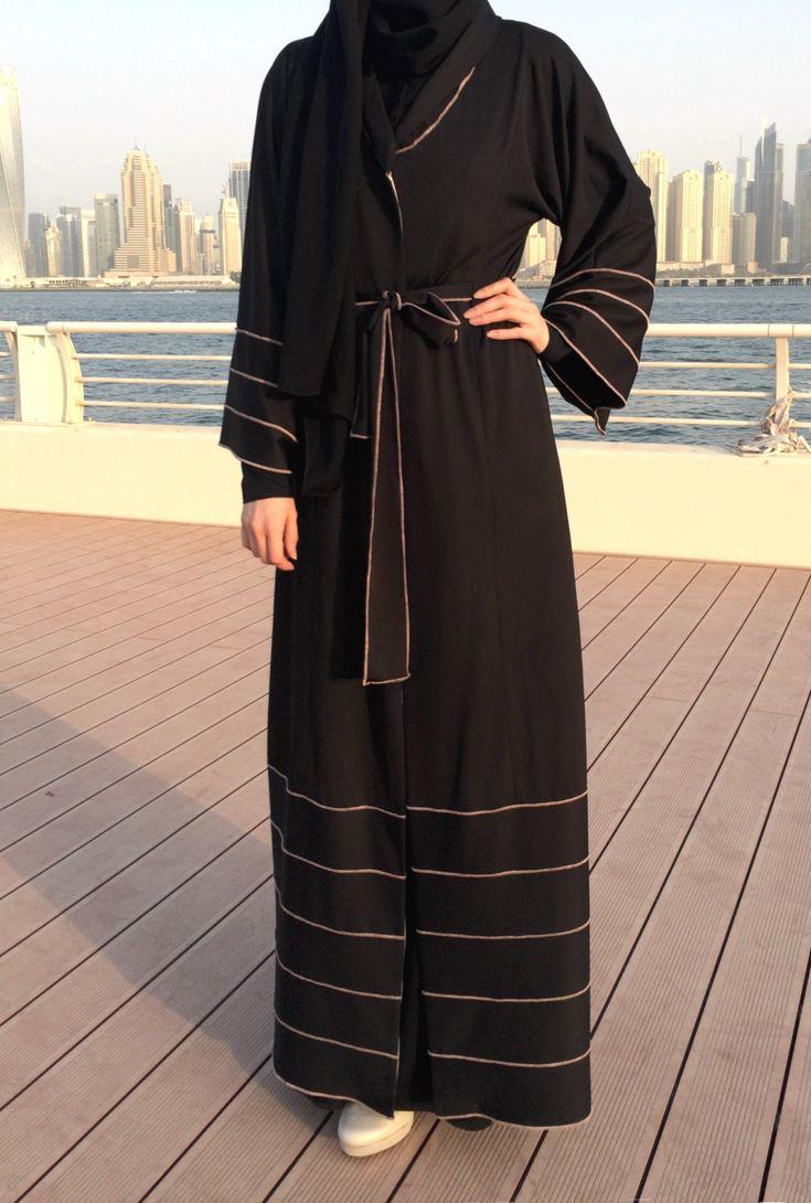 Jersey Abaya  Black / Hemming Stitch Abaya / Abaya with Belt