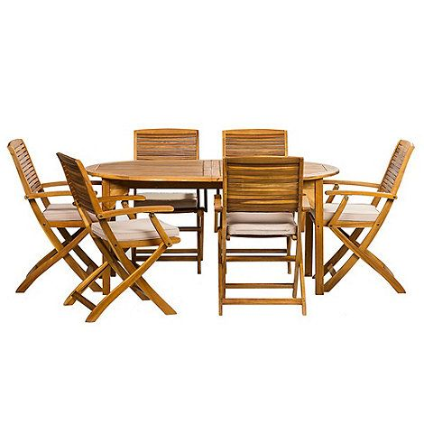 Debenhams Acacia wood 'Panama' round table and 6 carver chairs- | Debenhams
