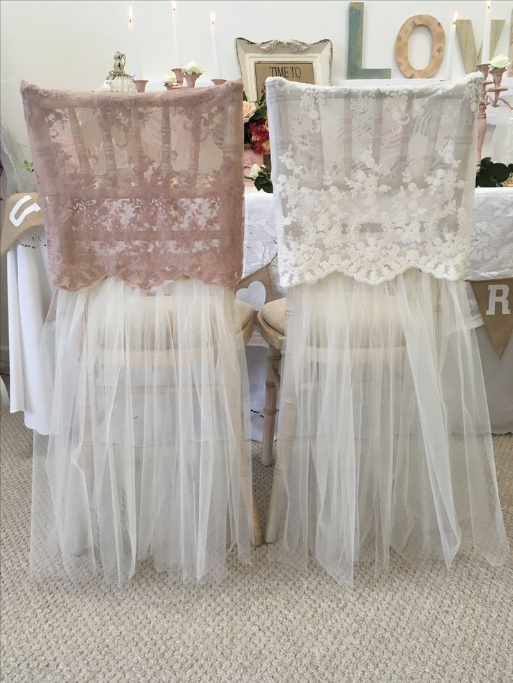 Vintage embroidery caps over tulle skirts ❤️to hire from Forget me not chair hire ❤️