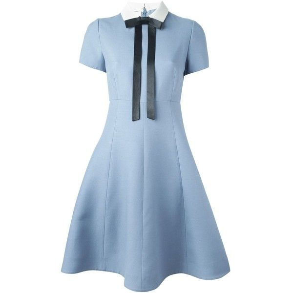 Valentino bow detail A-line dress (144,585 THB) ❤ liked on Polyvore featuring dresses, vestidos, blue, bow collar dress, blue a line dress, collar dress, short sleeve dress and back zipper dress