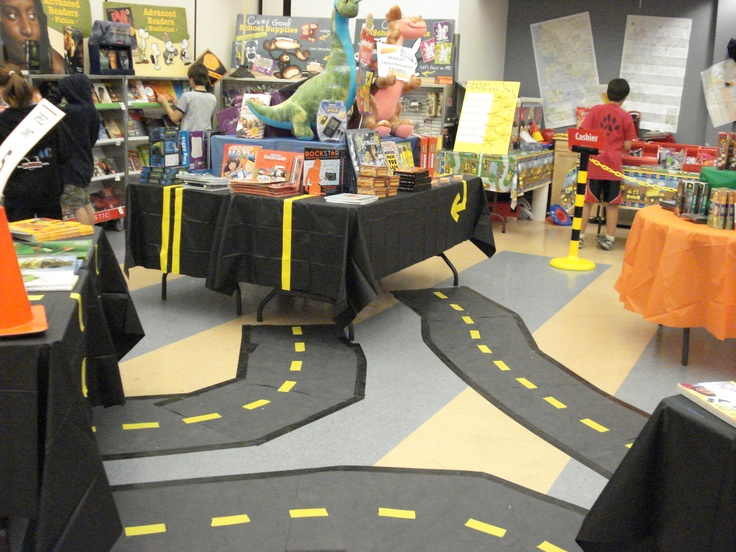 This library floor becomes a road to great books at this Reading Road Trip Book Fair! http://www.janetcampbell.ca/