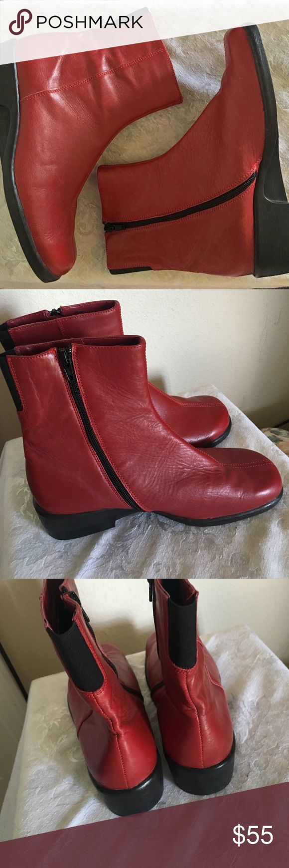 """🆕 Red & black Arcopedico boots, like new, size 40 Arcopedico (""""The Most Comfortable Shoe on Earth"""") by Elio Parodi zipper boots in Cherry (red). Size 40 or 10 US. Made in Portugal. High-quality, very comfortable boots with butter-soft real leather. These shoes are in like new condition but no tags or box. Never worn outside. Arcopedico Shoes Ankle Boots & Booties"""