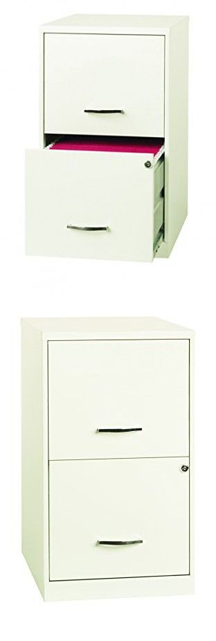 Space Solutions 2 Drawer File Cabinet, 18 Inch Deep, Pearl White