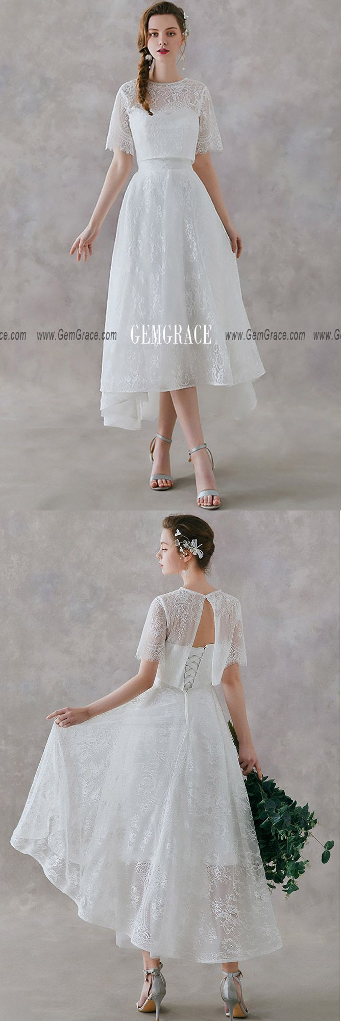 148 89 Retro High Low Lace Two Pieces Wedding Dress Tea Length For Country Outdoor Weddings Ys610 Gemgrace Com Retro Wedding Dress Tea Length Outdoor Wedding Dress Retro Wedding Dresses [ 2000 x 668 Pixel ]