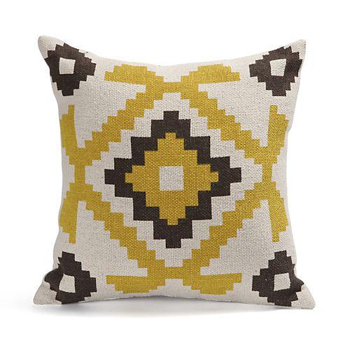 Coussin motifs aztèques jaunes 40x40cm - Lima - Coussins décoratifs-Textiles, Tapis-Salon, Salle à manger-Par pièce - Décoration intérieur - Alinea