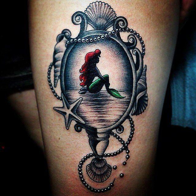 Little Mermaid hand mirror tattoo, beautiful