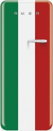 """FAB28UITL1 24"""" 50's Retro Style Refrigerator with 9.22 cu. ft. Capacity Ice Compartment Interior Lighting Crisper Bottle Storage and Adjustable Glass Shelves: Italian Flag Color Design with Left Hinge"""