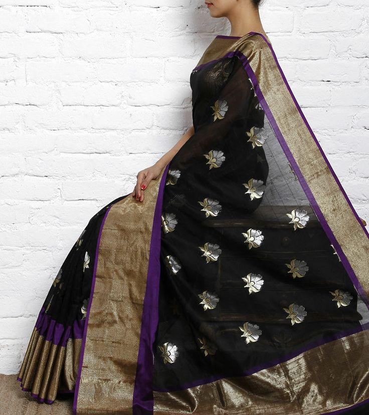 Black Cotton Saree.