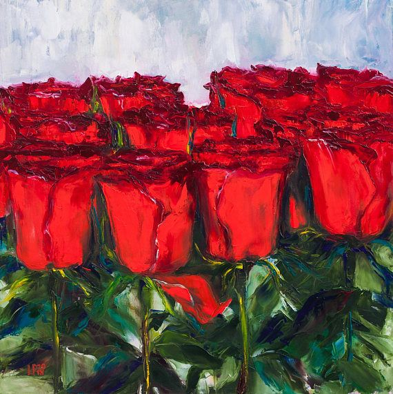 Oil Painting Dozen Red Roses Original Painting Palette Knife