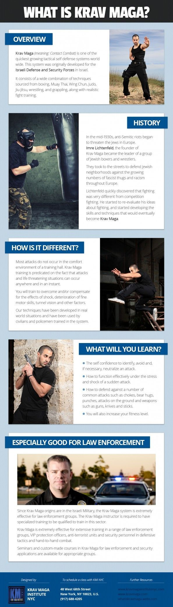 Krav Maga Self Defense System for Law Enforcment Infographic #selfdefense