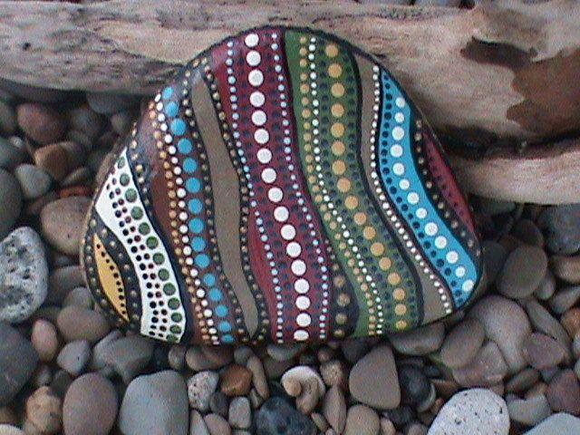 Painted Beach Stone Dot Art - by Christine Salva