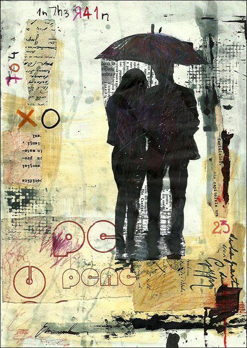 Afdrukken van kunst doek mixed media schets cadeau Collage inkt tekening liefde paar schilderij illustratie paraplu gesigneerd Emanuel M Ologeanu