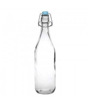 Bouteilles en verre avec bouchons clipsables, parfaites pour servir l'eau ou les jus de fruits dans les cafés et bars. Lavables au lave-verres. Dimensions: 3...