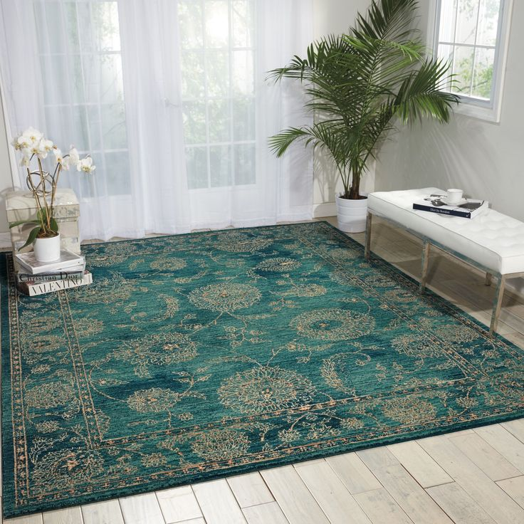 Nourison 2020 Teal Area Rug (12' x 15') (12' x 15'), Blue, Size 12' x 15' (Polyester, Oriental)
