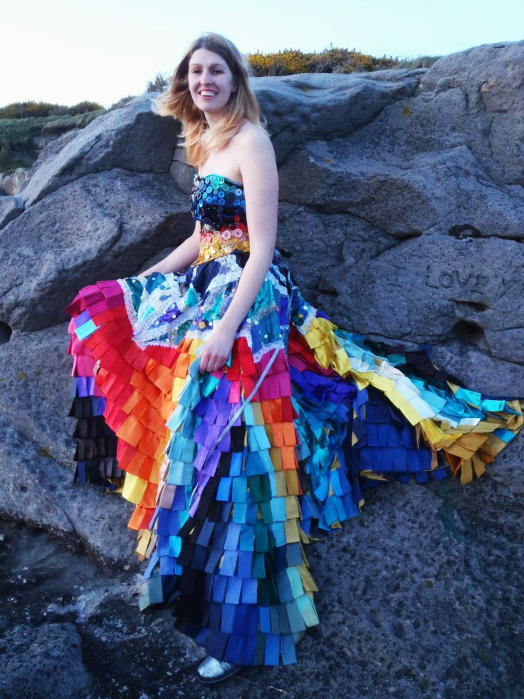 Multicoloured sunset skirt- a full circle covered in folded rectangles of coloured satin, cotton and silk. With lace and button detail on the bodice. www.duxburydesigns.co.uk