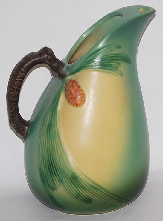 Roseville #Pottery Pine Cone Green #Pitcher  - I always love the graceful shapes and designs.