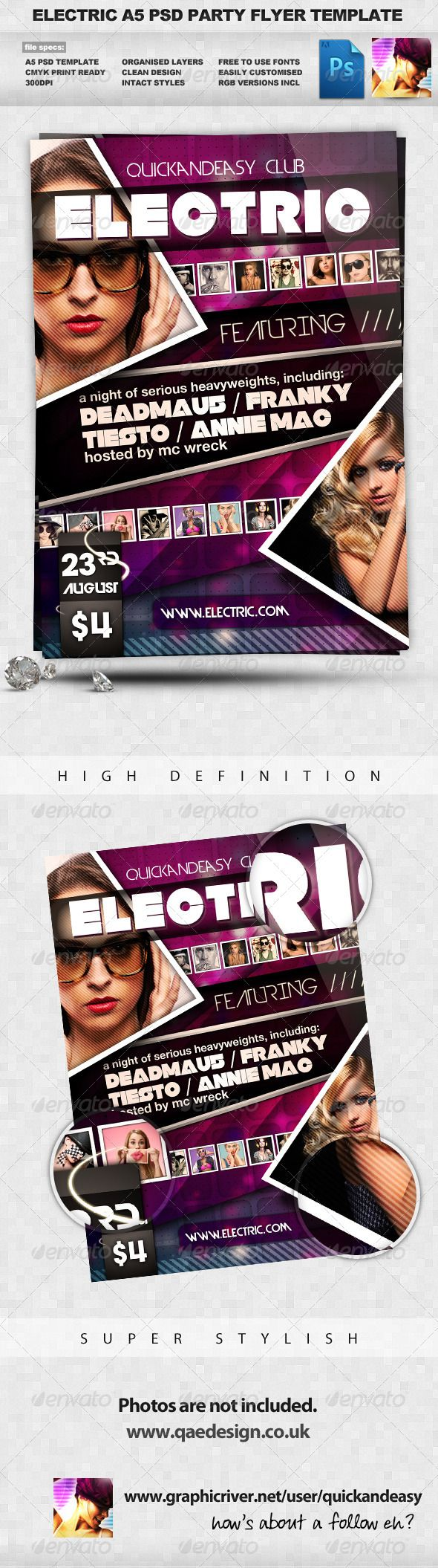 Electric Night Club Dance A5 Flyer — Photoshop PSD #club #colour • Available here → https://graphicriver.net/item/electric-night-club-dance-a5-flyer/240359?ref=pxcr