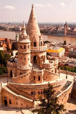 The Fisherman's Bastion, Budapest, Hungary - this fairly new structure was built at the turn of the 20th century, has seven towers, each of which represent one of the original Magyar tribes, and offers wonderful views of the city.