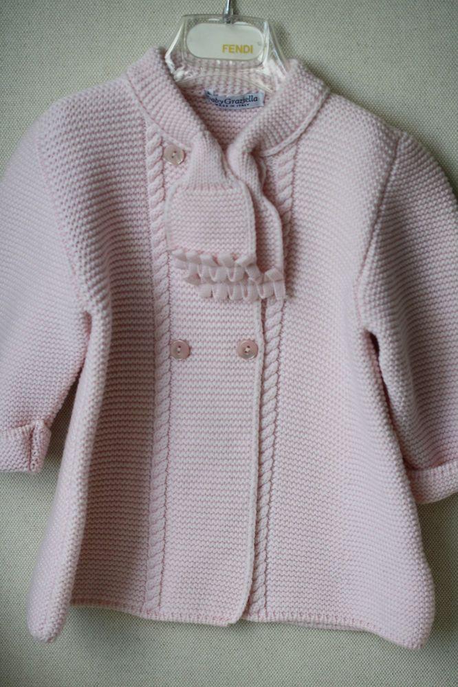 BABY GRAZIELLA PINK MERINO WOOL COAT 12 MONTHS